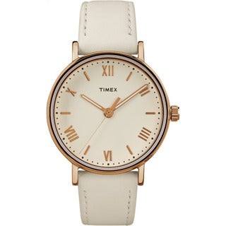 Timex Women's TW2R28300 Southview 37 White/Rose Goldtone/Cream Brass and Leather Strap Watch