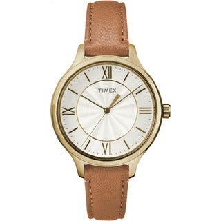 Timex Women's TW2R27900 Peyton Brown and Goldtone Leather Strap Watch