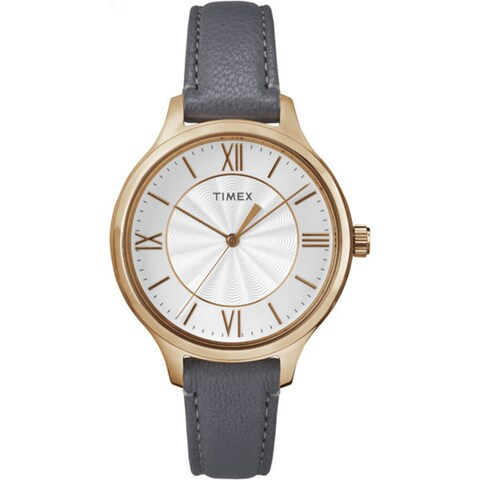 Timex Women's TW2R27700 Peyton Gray/Rose Gold-Tone Leather Strap Watch