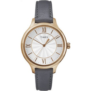 Timex Women's TW2R27700 Peyton Grey and Rose Goldtone Leather Strap Watch