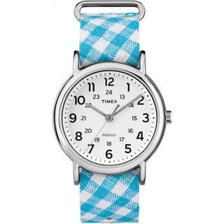 Timex Women's TW2R24400 Weekender Teal Gingham Nylon Slip-thru Strap Watch