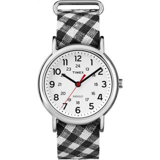 Timex Women's TW2R24300 Weekender Black Gingham Nylon Slip-thru Strap Watch