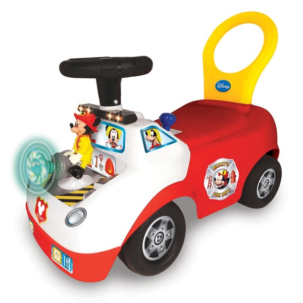 Kiddieland Disney Mickey Mouse Light and Sound Activity Ride-On Activity Fire Truck