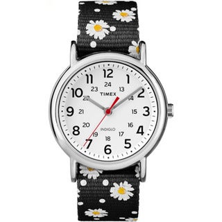 Timex Weekender Black Floral Reversible Nylon Slip-thru Strap Watch