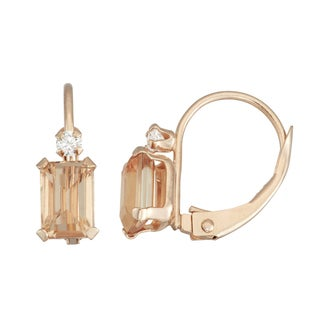 Gioelli 10k Yellow Gold Morganite Quartz Leverback Earrings