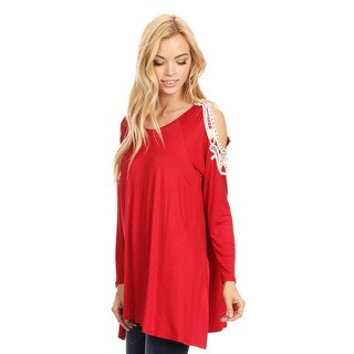 Women's Red Tunic with Crochet Lace Soulder Embellishments