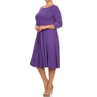 Women's Purple Rayon and Spandex Plus-size Solid Dress