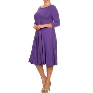 Women's Purple Rayon and Spandex Plus-size Solid Dress https://ak1.ostkcdn.com/images/products/14417059/P20984925.jpg?impolicy=medium