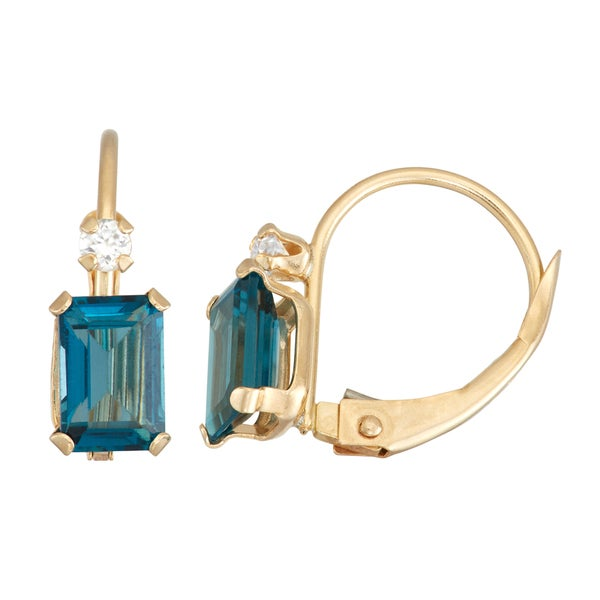Gioelli 10k Yellow Gold London Blue Topaz Leverback Earrings. Opens flyout.
