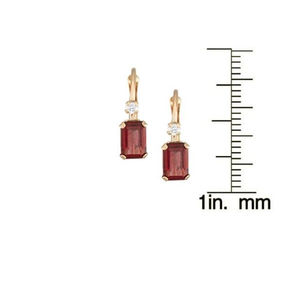 Gioelli 10k Yellow Gold Garnet Leverback Earrings