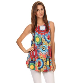 Women's Fuchsia Multicolor Sleeveless Medallion Tank Top