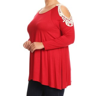 Women's Plus-size Red Rayon, Spandex Tunic with Crochet Lace Shoulder Embellishments