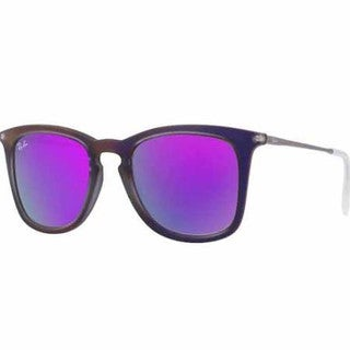 Ray Ban Square Mirrored Unisex RB4221 Gunmetal Frames Violet Lenses Sunglasses