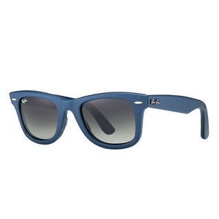 Ray Ban Square Wayfarer RB2140QM Leather Blue Frame Grey Mirror Lenses (50mm) Sunglasses