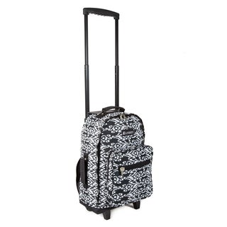Everest Black and White Ikat 17-inch Wheeled Backpack