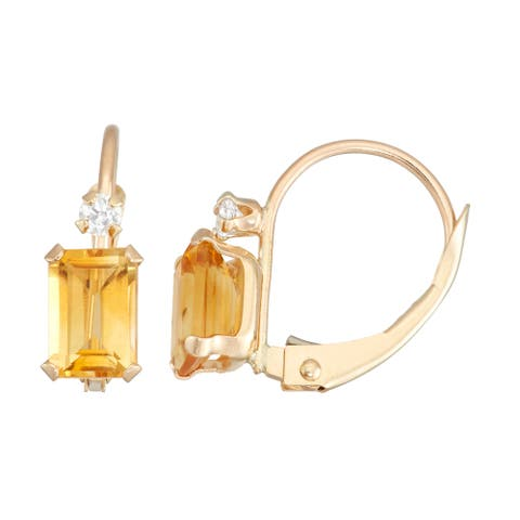 Gioelli 10k Yellow Gold Citrine and White Zircon Leverback Earrings