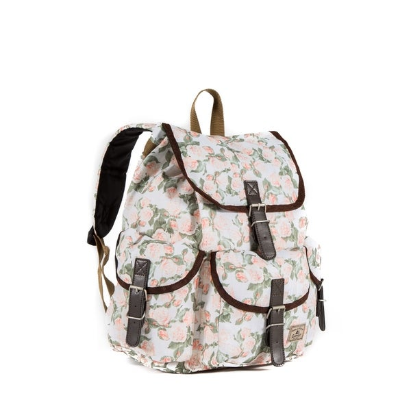 Shop Everest 16-inch Vintage Floral Rucksack Backpack