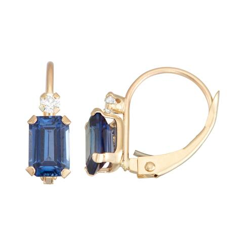 Gioelli 10K Yellow Gold Created Blue Sapphire Leverback Earrings