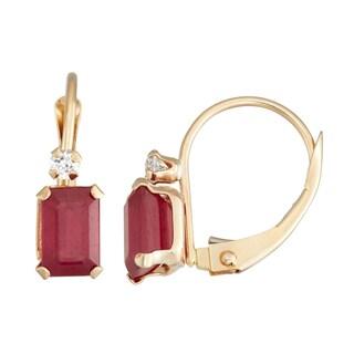 Gioelli 10K Yellow Gold Created Ruby Leverback Earrings