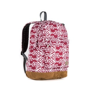 Everest Burgundy/White Ikat Suede Bottom 17-inch Backpack
