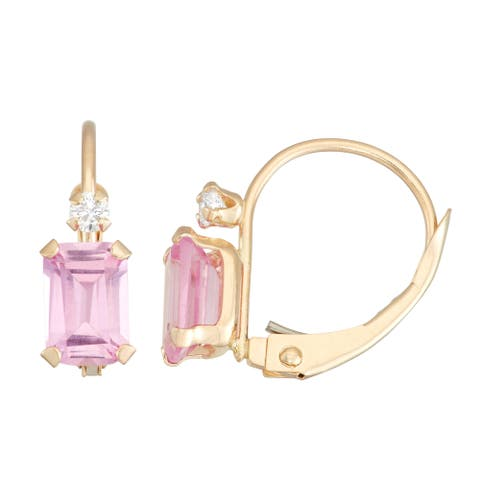 Gioelli 10k Gold Created Pink Sapphire Leverback Earrings