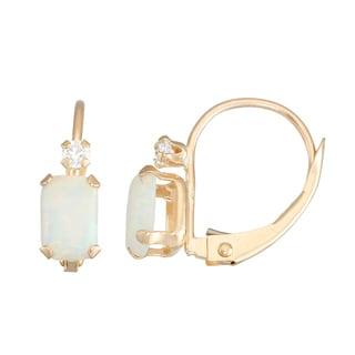 Gioelli 10K Gold Created Opal Leverback Earrings