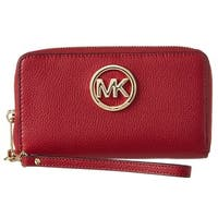 Michael Kors Leather Large Cherry Flat Multi-Function Phone Case