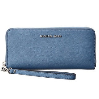 Michael Kors Jet Set Travel Denim Blue Leather Continental Wallet
