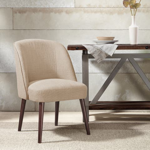 """Madison Park Larkin Natural Rounded Back Dining Chair - 22.25""""w x 24.5""""d x 34.6""""h"""