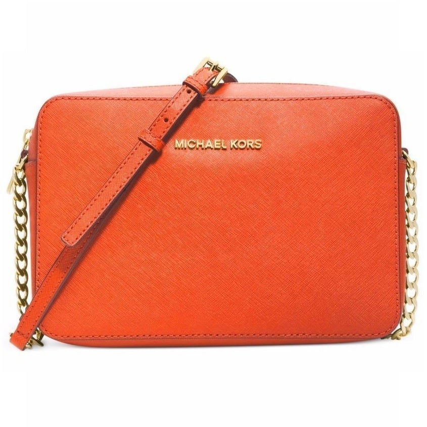 Michael Kors Jet Set Large Saffiano Leather Orange Crossbody Handbag