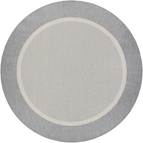 "Pergola Channel Champagne-Grey Indoor/Outdoor Round Rug - 8'6"" Round"