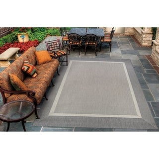 Couristan Recife Stria-texture Champagne/Grey Outdoor Area Rug - 7'6 x 10'9