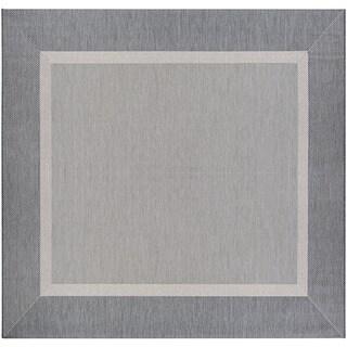 Couristan Recife Stria Texture/Champagne Grey Square Area Rug (7'6 x 7'6)