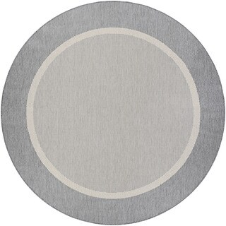 Couristan Recife Stria Texture Champagne-Grey Indoor/Outdoor Round Rug - 7'6 x 7'6