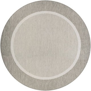 Couristan Recife Stria Texture/Champagne-Taupe Round Outdoor Area Rug - 8'6 x 8'6
