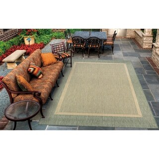 Couristan Recife Stria Textured Natural/Green Outdoor Area Rug - 7'6 x 10'9