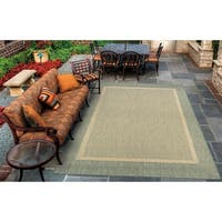 Couristan Recife Stria Texture/Natural-Green Indoor/Outdoor Rug - 5'3 x 7'6