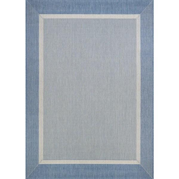 "Couristan Recife Stria Texture Champagne Blue Indoor/Outdoor Rug - 7'6"" x 10'9"""