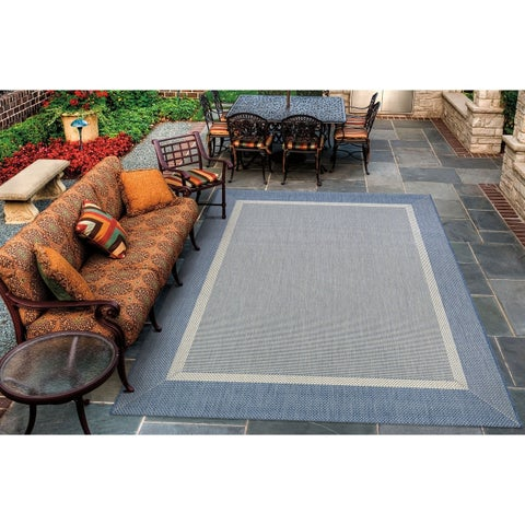 Couristan Recife Stria Texture Champagne Blue Indoor/Outdoor Rug - 7'6 x 10'9