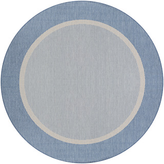 Couristan Recife Stria Textured Champagne/Blue Round Outdoor Area Rug (7'6 x 7'6)