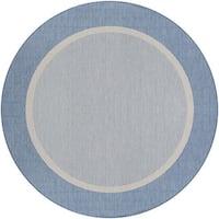 Couristan Recife Stria Textured Champagne/Blue Round Outdoor Area Rug - 7'6 x 7'6