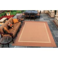 Couristan Recife Stria Texture Natural- Terracotta Indoor/Outdoor Rug - 8'6 x 13'