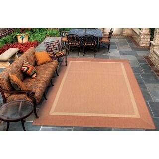 Couristan Recife Stria Texture Natural-Terra Cotta Indoor/Outdoor Area Rug - 7'6 x 10'9