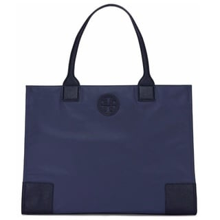 Tory Burch Ella Packable Tory Navy Nylon Tote
