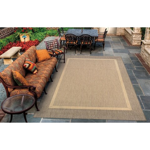 Couristan Recife Stria Natural/Coffee Indoor/Outdoor Area Rug - 7'6 x 10'9
