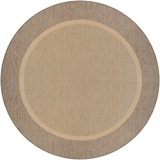 Couristan Recife Stria Texture Natural-coffee Indoor/Outdoor Round Rug - 7'6 x 7'6