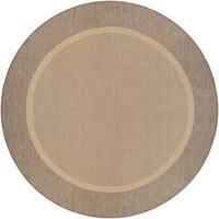Couristan Recife Stria Texture Natural-coffee Indoor/Outdoor Round Rug - 7'6 x 7'6