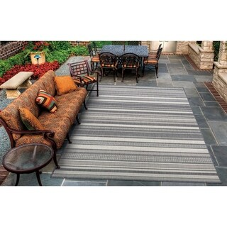 Couristan Recife Gazebo Champagne/Grey Striped Outdoor Area Rug - 8'6 x 13'
