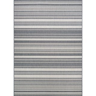 Couristan Recife Gazebo Stripe/Champagne-Grey Outdoor Round Area Rug - 8'6 x 8'6