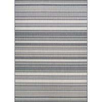 Couristan Recife Gazebo Stripe/Champagne-Grey Outdoor Square Area Rug - 7'6 x 7'6